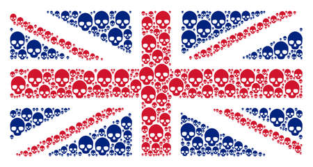 United Kingdom State Flag pattern combined of skull elements. Raster skull icons are united into conceptual United Kingdom flag collage.