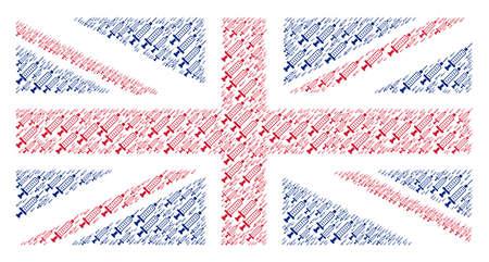 UK State Flag mosaic done of syringe design elements. Raster syringe design elements are composed into conceptual UK flag illustration.