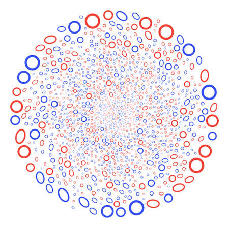 Contour Ellipse swirl exploding globula. Object centrifugal explosion combined from scatter contour ellipse items. Vector illustration style is flat iconic symbols. Иллюстрация