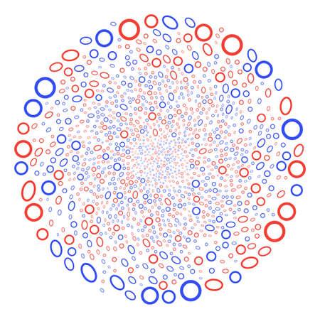 Contour Ellipse swirl exploding globula. Object centrifugal explosion combined from scatter contour ellipse items. Vector illustration style is flat iconic symbols. Ilustrace