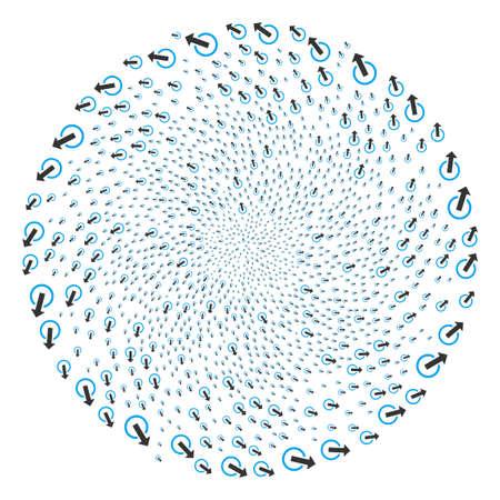 Logout centrifugal exploding globular. Element curl created from scatter logout items. Vector illustration style is flat iconic symbols. Illusztráció