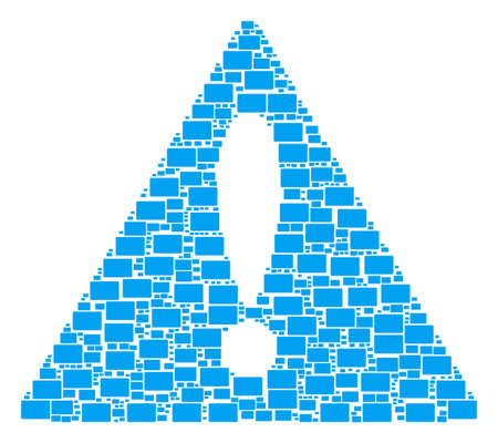 Beware Triangle Sign composition composed of filled rectangle pictograms. Vector filled rectangle icons are composed into geometric failure triangle sign collage. Ilustração