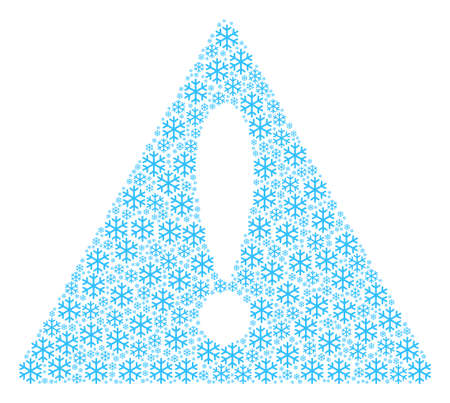Fail Triangle Sign concept designed of snowflake pictograms. Vector snowflake items are combined into geometric notice symbol illustration.