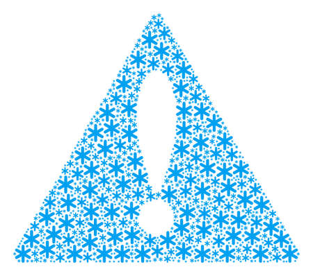 Notice Symbol composition made of snowflake design elements. Vector snowflake elements are organized into mosaic advice triangle sign pattern. Illustration