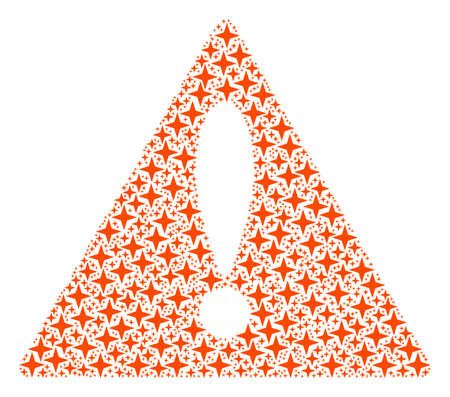 Beware Symbol concept combined of space star design elements. Vector space star elements are combined into mosaic warning symbol pattern.