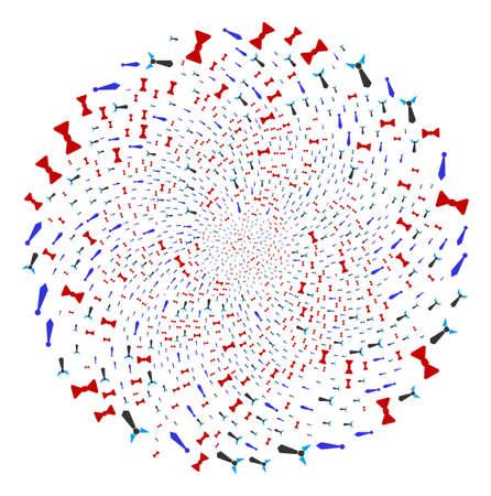 Gentleman Tie cycle globula. Element cyclone created from random gentleman tie symbols. Vector illustration style is flat iconic symbols. Illustration