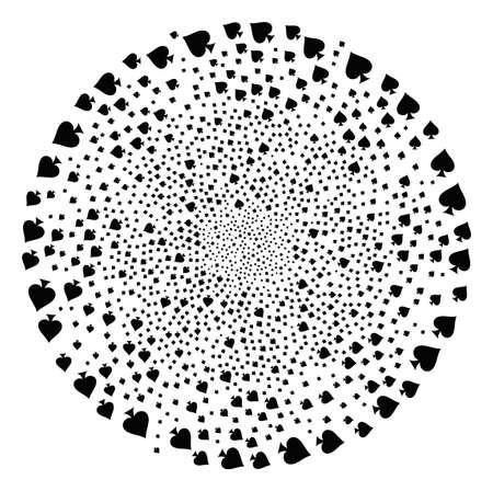 Peaks Suit twirl spheric cluster. Object curl created from random peaks suit symbols. Vector illustration style is flat iconic symbols.