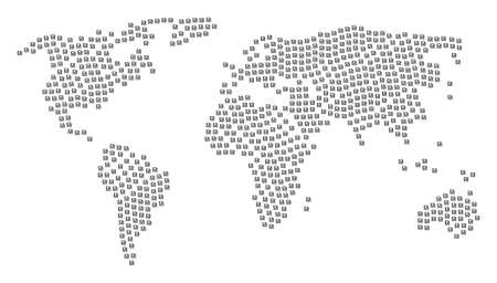 Global world atlas concept combined of floppy disk design elements. Raster floppy disk design elements are united into mosaic worldwide atlas. Standard-Bild