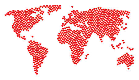Earth map pattern constructed of hearts suit icons. Raster hearts suit items are united into geometric worldwide map.