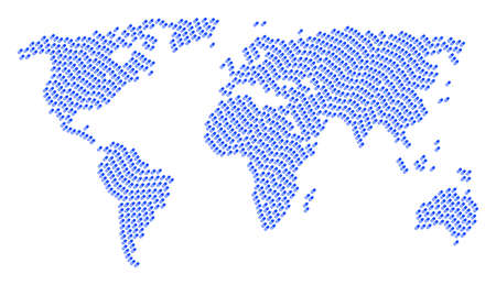 International atlas composition organized of male power pill pictograms. Raster male power pill design elements are combined into geometric continent collage. Stockfoto
