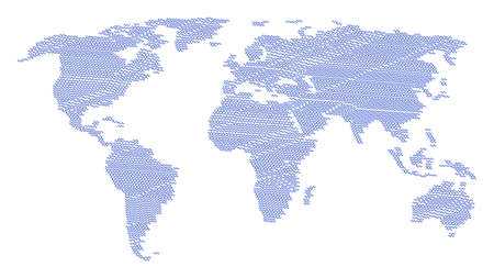 Global world map collage constructed of sinusoid wave design elements. Raster sinusoid wave design elements are organized into geometric world pattern.