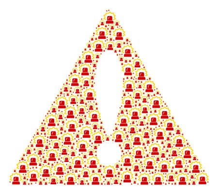 Beware Sign pattern made of alarm design elements. Vector alarm elements are united into mosaic beware triangle sign composition. Ilustração