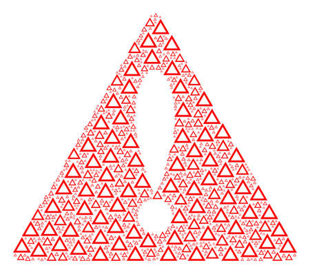 Warning Sign collage constructed of contour triangle pictographs Vector.