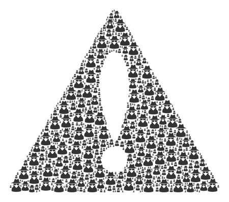Advice Triangle Sign pattern composed of spy elements. Vector spy icons are united into geometric attention sign collage.