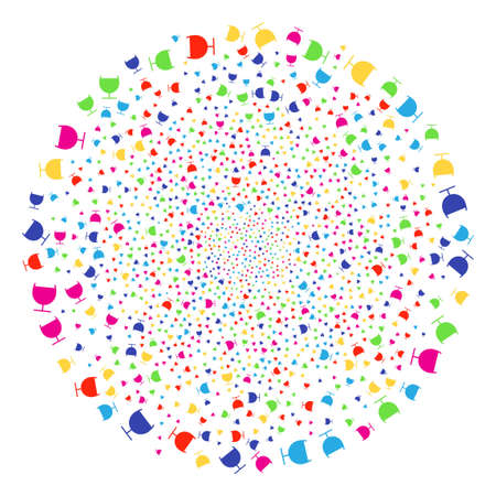 Colorful Alcohol Glass festival round cluster. Vector globula explosion created with scatter alcohol glass items. Colorful Vector illustration.