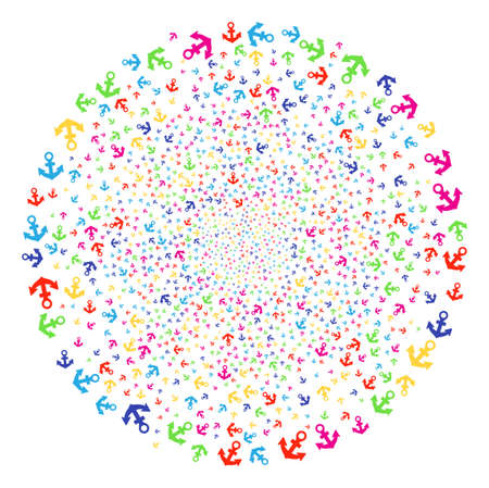 Bright Anchor carnival cluster. Vector sphere explosion created from scattered anchor elements. Multi Colored Vector illustration.