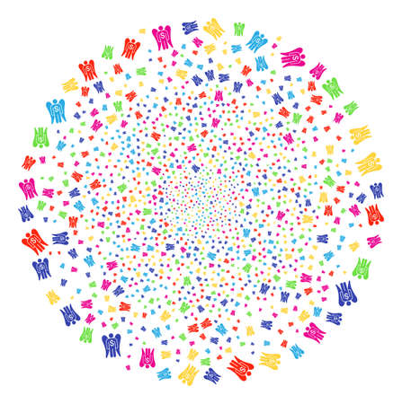 Multicolored Angel Investor bang cluster. Vector globula burst combined from scattered angel investor elements. Multicolored Vector illustration. Illustration