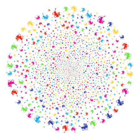 Bright Baby Carriage sparkler spheric cluster. Vector round cluster bang organized with randomized baby carriage objects. Psychedelic Vector illustration.
