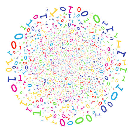 Multi Colored Binary Digits sparked round cluster. Vector round cluster burst combined by random binary digits symbols. Bright Vector abstraction.
