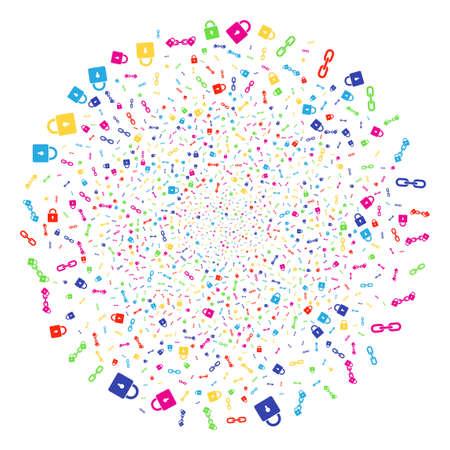 Bright Blockchain festival cluster. Vector cluster burst organized from scatter blockchain symbols. Bright Vector illustration. Illustration