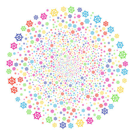 Bright Boat Steering Wheel festival globula. Vector round cluster burst organized from scatter boat steering wheel symbols. Multicolored Vector illustration.