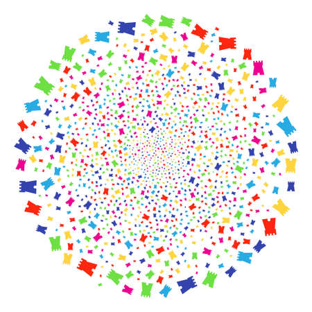 Multicolored Bulwark Tower decoration round cluster. Vector round cluster explosion done from random bulwark tower objects. Colorful Vector abstraction.