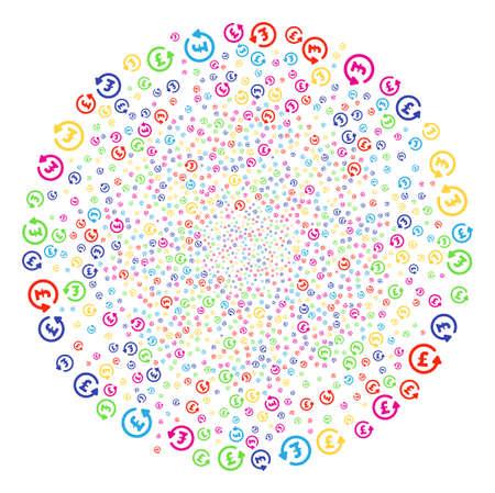 Multicolored Chargeback Pound festive cluster. Vector globula salute organized with random chargeback pound elements. Multi Colored Vector abstraction.