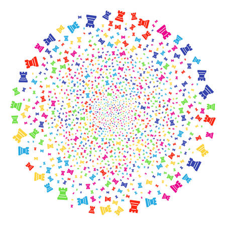 Colorful Chess Tower sparked round cluster. Vector sphere fireworks organized from random chess tower symbols. Multicolored Vector abstraction.