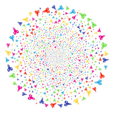Multi Colored Christian Church salute round cluster. Vector round cluster fireworks organized with scattered christian church symbols. Bright Vector illustration.