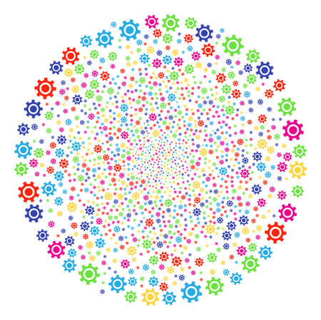 Multicolored Cogwheel burst round cluster. Vector sphere fireworks combined from scattered cogwheel items. Multicolored Vector abstraction.