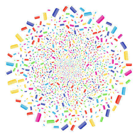 Colorful Comb exploding cluster. Vector globula fireworks done with scattered comb objects. Psychedelic Vector abstraction.