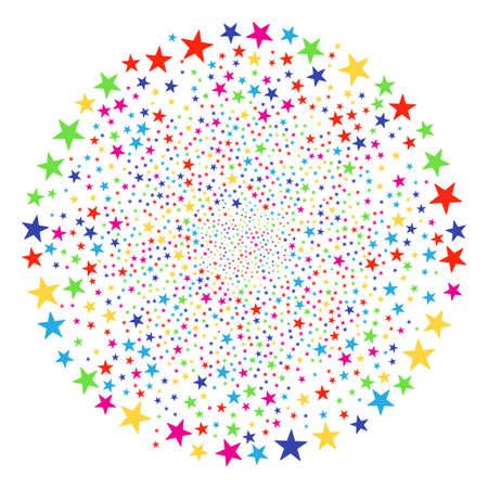 Multicolored Confetti Star bang sphere. Vector round cluster burst designed by random confetti star symbols. Multicolored Vector illustration. Vettoriali