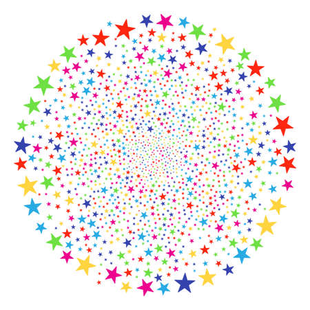 Multicolored Confetti Star bang sphere. Vector round cluster burst designed by random confetti star symbols. Multicolored Vector illustration. Illustration