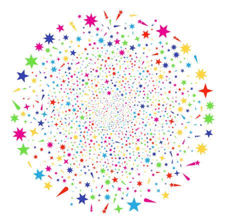 Multi Colored Confetti Stars festival globula. Vector globula burst combined from randomized confetti stars items. Colorful Vector illustration.