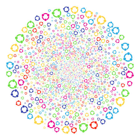 Multi Colored Cooperation decoration globula. Vector round cluster explosion created by randomized cooperation elements. Psychedelic Vector illustration. Illustration