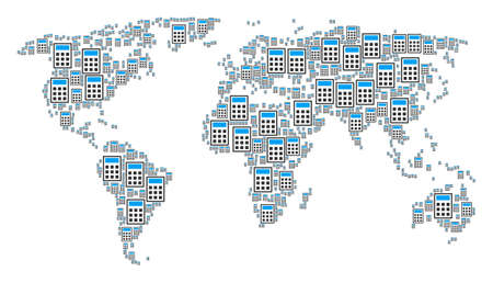 Global geography map pattern made of calculator design elements. Vector calculator items are united into conceptual global geography illustration.