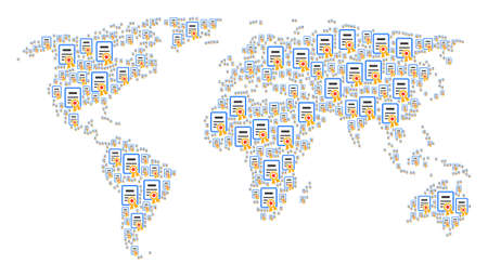 Continent map pattern combined of certificate elements. Vector certificate icons are composed into conceptual international atlas.