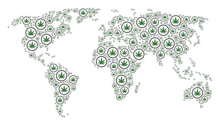 World map composition done of cannabis icons. Vector cannabis elements are organized into conceptual global geography atlas.