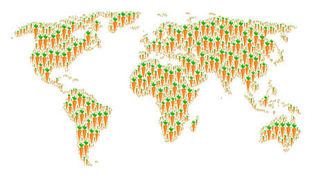 Global atlas mosaic made of carrot icons. Vector carrot icons are united into geometric continental collage.