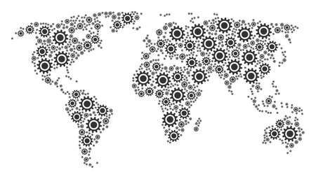 Continental atlas concept created of cog pictograms. Vector cog icons are composed into geometric global world atlas.