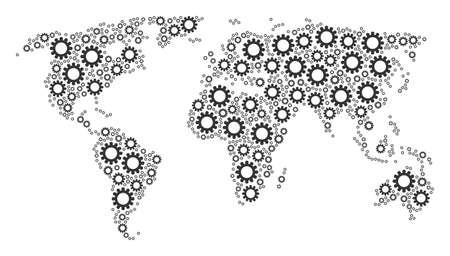 歯車のデザイン要素を含む国際アトラスコラージュ。ベクトルコグピクトグラムは幾何学的大陸マップに結合されます。