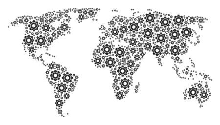 Global atlas pattern organized of cog icons. Vector cog icons are organized into geometric continental plan. Stock Illustratie