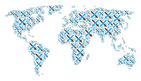 Global world map collage composed of crossing swords icons. Vector crossing swords elements are composed into geometric geographic composition. 일러스트