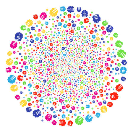 Colorful Dual Head Interface burst globula. Vector round cluster salute combined with scattered dual head interface symbols. Multi Colored Vector illustration.