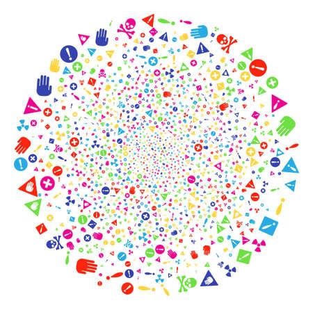 Multicolored Danger sparkler sphere. Vector round cluster bang done by random danger elements. Colorful Vector abstraction.