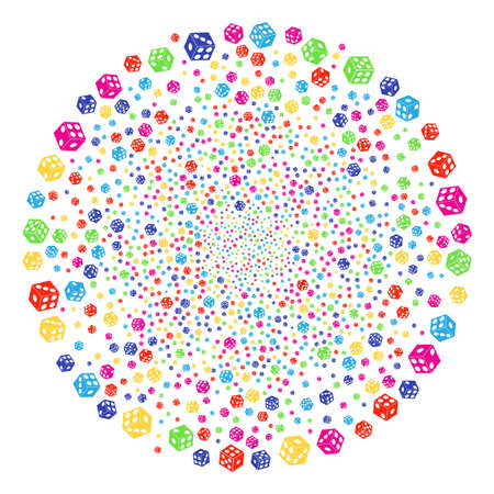 Psychedelic Dice festival sphere. Vector globula explosion combined from randomized dice objects. Psychedelic Vector illustration.