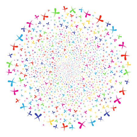 Multicolored Erase sparkler spheric cluster. Vector cluster bang organized from scattered erase objects. Bright Vector illustration.