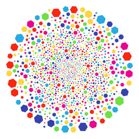 Multi Colored Filled Hexagon salute spheric cluster. Vector globula bang organized with scattered filled hexagon items. Colorful Vector abstraction.