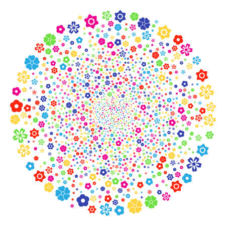Psychedelic Flower exploding round cluster. Vector sphere fireworks designed with randomized flower symbols. Multicolored Vector illustration.