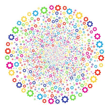 Multicolored Gear decoration cluster. Vector spheric cluster burst designed with scattered gear symbols. Multi Colored Vector illustration.